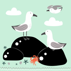 cartoon card with gulls