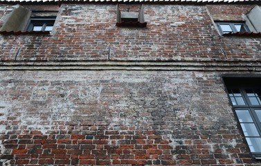 Close up surface of old weathered brick walls