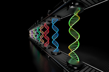 3D illustration of colored DNA helix being assembled on assembly line