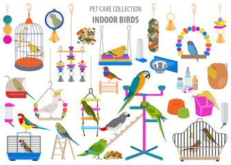 Pet appliance icon set flat style isolated on white. Birds care collection. Create own infographic about parrot, parakeet, canary, thrush, finch, jay bird, starling, amadina, siskin,  toucan, bunting