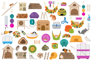 Pet rodents home accessories icon set flat style isolated on white. Healthcare collection. Create own infographic about guinea pig, rat, hamster, chinchilla, mouse, rabbit