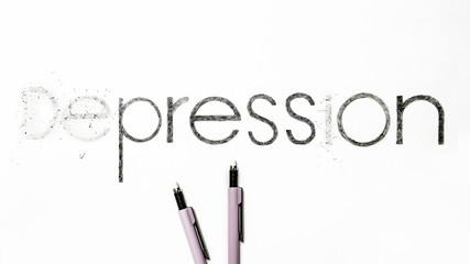 Pun Concept Design - Overcome Disease - Depression To Press On - With Pencils - Isolated On White Background