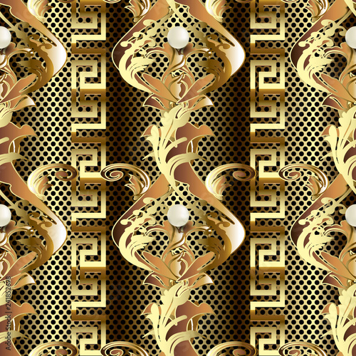 94a21b83b5 Gold Baroque 3d vector seamless pattern. Vintage antique floral Damask  ornament. White elegance pearls. Ornate textured lace background.