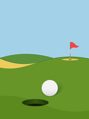 Golf background. Golf course with hole, ball and flag