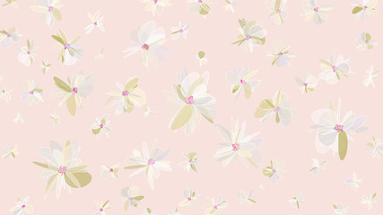 Spatial flowers in gentle pastel colors. Elements for design and advertising.