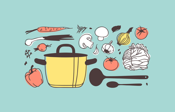 Hand drawn illustration cooking tools, dishes and food. Creative ink art work. Actual vector drawing ingredients for soup. Kitchen set