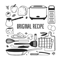 Hand drawn illustration cooking tools, dishes, food and quote. Creative ink art work. Actual vector drawing. Kitchen set and text  OROGONAL RECIPE
