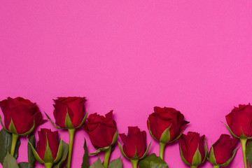 Valentines day background, seamless pink background with red rose border, free copy text space