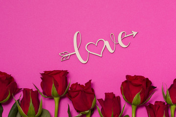 Valentines day background, seamless pink background with red roses, love, free copy text space