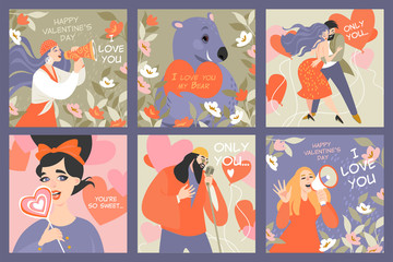 Set of vector Valentines day cards with funny characters in cartoon style