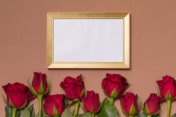 Valentines day, empty frame, seamless nude background with red roses, message, free copy text space