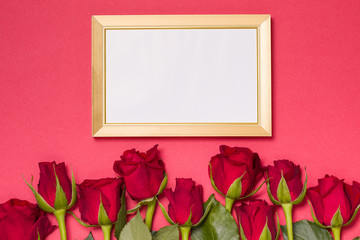 Valentines day, empty frame, seamless red background with red roses, message, free copy text space