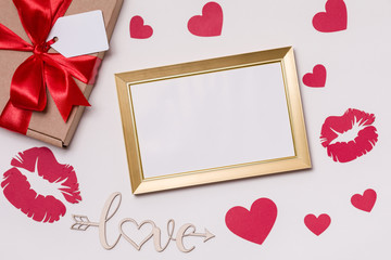 Valentines day,empty frame, white background,gift,red roses,hearts,love,free copy text space