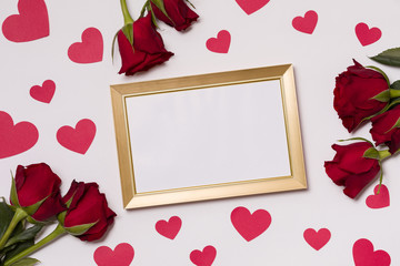Valentines day,empty frame,seamless white background,red roses,hearts,message,free copy text space