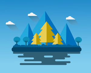 Flat design Landscape  night time vector design.
