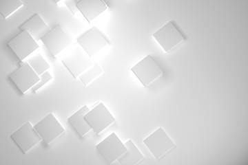 3d rendering, White boxes background