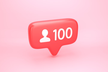 One hundred friends or followers social media notification with heart icon