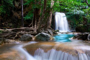 Wall Mural - Erawan Waterfall in Thailand is locate in Kanchanaburi Provience. This waterfall is in Erawan national park