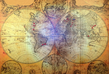 Retro and vintage map.Old illustration of ancient atlas map of world on old paper.Pin marking location on map. Adventure and travel theme background - Image