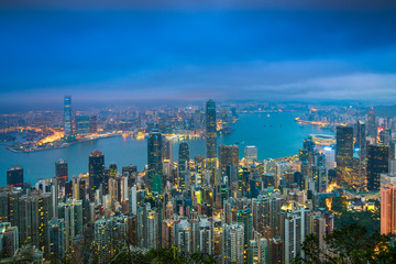 Hong Kong City skyline twilight time view from Victoria Peak.