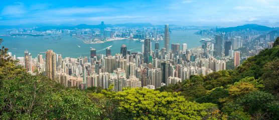 Hong Kong City skyline day time view from Victoria Peak, Panorama. Wall mural