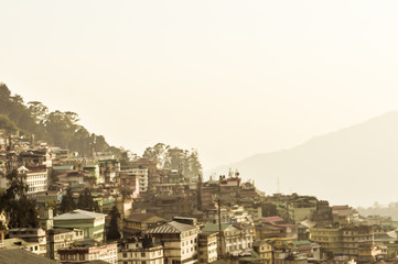 Beautiful panorama view of Gangtok city, largest town of Indian state of Sikkim, located in the eastern Himalayan range in Northern India.