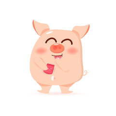 Pig is eating snack, cute cartoon characters, Chinese New Year, year of the pig on white background vector illustration