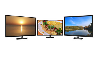 Television monitors isolated on white background. Flat high definition TV