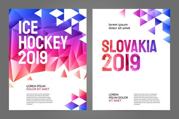 Layout poster template design for sport event, tournament, championship or ice hockey. Slovakia 2019.