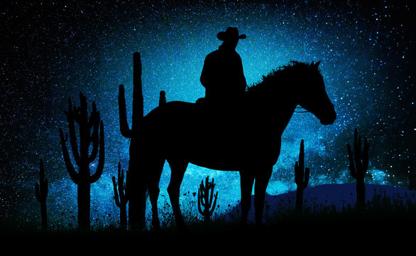 Lonely cowboy under the stars