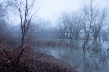 Foggy river with train trestle