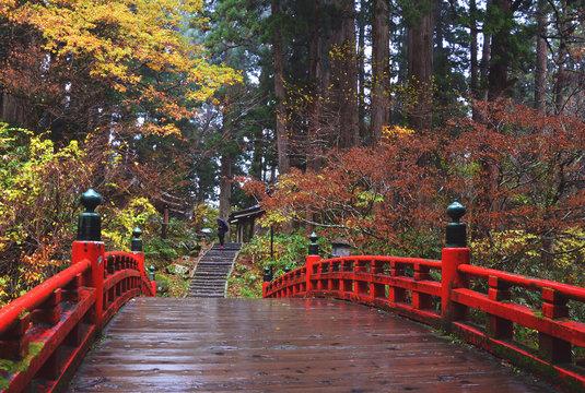 Haguro Mt, Tsuruoka, Japan - November 11, 2018: Red bridge at Haguro Mountain