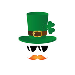 leprechaun character face red beard and hat with clover and sunglasses on white background vector illustration EPS10
