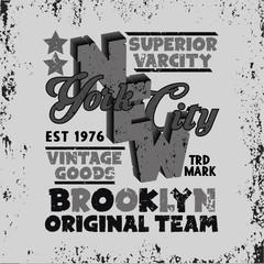 sport t-shirt, NYC vintage graphic, Brooklyn sport emblem,