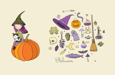 Autumn theme. Halloween. Little cute girl and a cartoon cat sitting on the cup. The moon, stars and melon. Vector illustration. - Vector
