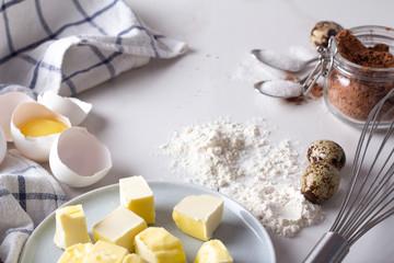 ingredients for baking cookies.