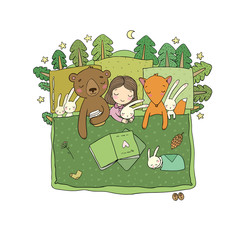 Cartoon girl sleeping in bed. Baby and toys. animals of the forest. Children s tale. Time to sleep. Good night - Vector