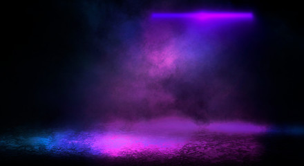 Fotomurales - Background of empty room with spotlights and lights, abstract purple background with neon glow