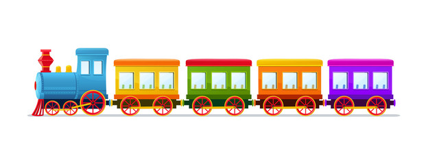 Cartoon toy train with color wagons on white background.