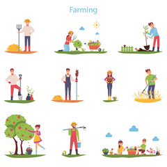 Flat vector set of character farmers working outdoors. People do gardening and farming