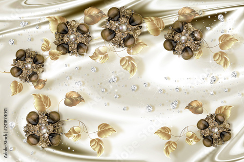 3d Wallpaper Gold Jewelry Flowers On Silk Background