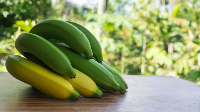 banana from organic garden for healthy