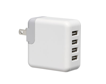 Usb wall charger plug (with clipping path) isolated on white background