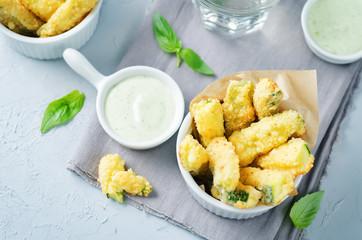 Baked Zucchini Fries with Pesto Greek yogurt sauce