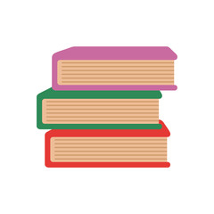 Colored stack of books vector flat icon