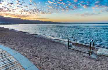 Morning at central public beach in Eilat - famous tourist resort and recreational city in Israel