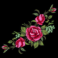 Red roses embroidery on black background. T-shirt design, element for greeting cards. Trend floral design. Satin stitch imitation, vector.