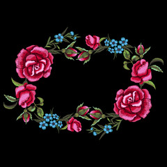 Red roses and blue flowers embroidery on black background, floral wreath. T-shirt design, element for greeting cards. Trend floral design. Satin stitch imitation, vector.