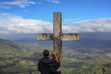 Panorama with cross, Usambara mountains, Tanzania