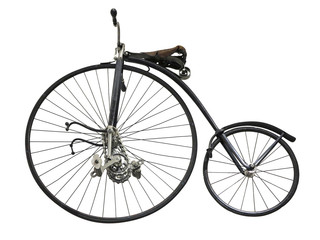 Vintage old retro bicycle isolated on white background
